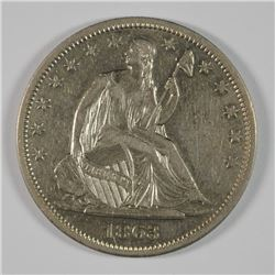 1863-S SEATED LIBERTY HALF AU/BU SCARCE DATE