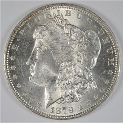 1879 MORGAN SILVER DOLLAR, CHOICE AU
