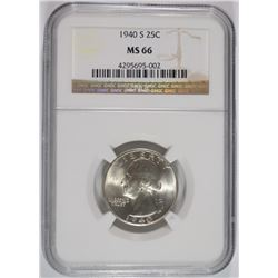 1940-S WASHINGTON QUARTER, NGC MS-66