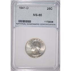 1941-D WASHINGTON QUARTER NNC GRADED GEM BU