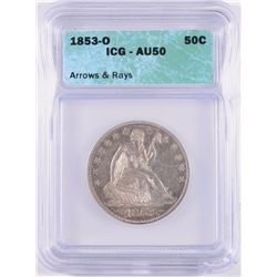 1853-O ARROWS AND RAYS SEATED HALF DOLLAR, ICG AU-50