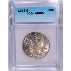 1936-S WALKING LIBERTY HALF ICG MS-65