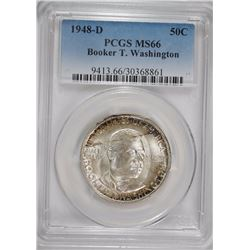 1948-D BOOKER T. WASHINGTON COMMEMORATIVE HALF DOLLAR, PCGS MS-66