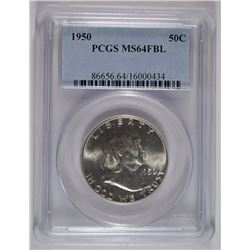 1950 FRANKLIN HALF DOLLAR, PCGS MS-64 FBL