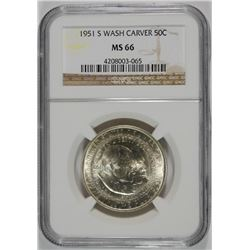 1951-S WASHINGTON CARVER COMMEMORATIVE HALF DOLLAR, NGC MS-66