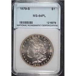 1879-S MORGAN DOLLAR NNC GRADED GEM BU PL