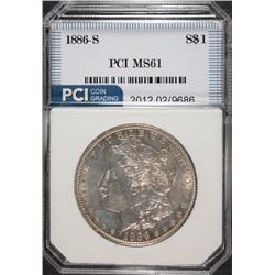 1886-S MORGAN SILVER DOLLAR, PCI CHOICE BU