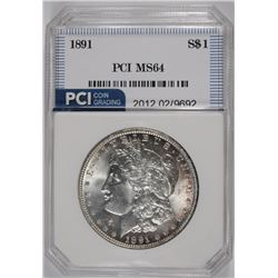1891 MORGAN SILVER DOLLAR, PCI GEM BU
