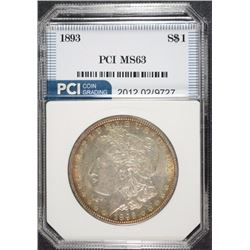 1893 MORGAN SILVER DOLLAR, PCI CHOICE BU