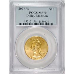 2007-W DOLLEY MADISON SPOUSE GOLD PCGS MS70