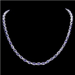 `14k W Gold 23ct Tanzanite 1.25ct Diamond Necklace