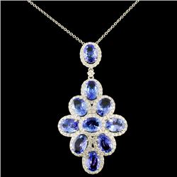 18k Gold 6.52ct Tanzanite & 1.16ct Diamond Pendant