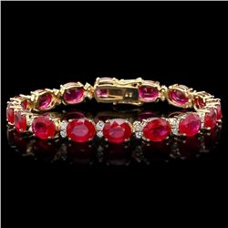 `14k Gold 36.23ct Ruby 1.50ct Diamond Bracelet