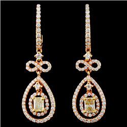 18K Gold 1.48ctw Fancy Diamond Earrings