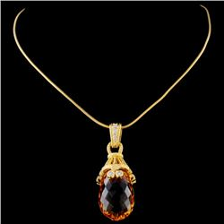 18K Yellow Gold 16.79ct Citrine & 0.24ct Diamond P