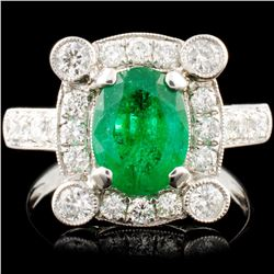 18K Gold 1.58ct Emerald & 0.83ctw Diamond Ring