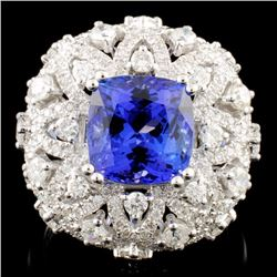 18K Gold 4.00ct Tanzanite & 1.73ctw Diamond Ring