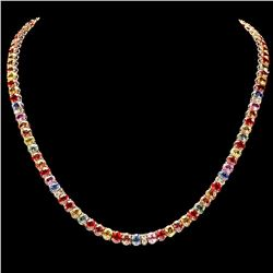 `14k Gold 44ct Sapphire 1.0ct Diamond Necklace