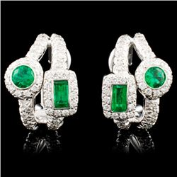 18K Gold 0.87ct Emerald & 0.76ctw Diamond Earrings
