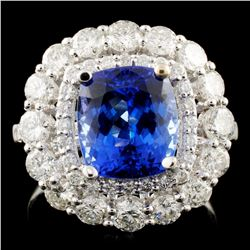 18K Gold 3.53ct Tanzanite & 1.74ctw Diamond Ring