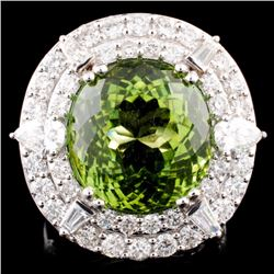 18K Gold 15.99 Tourmaline & 3.18ctw Diamond Ring