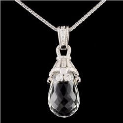 18K Gold 15.76ct Quartz & 0.24ctw Diamond Pendant