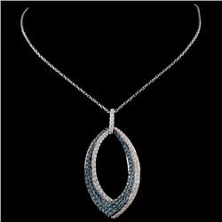 14K White Gold 1.13ctw Fancy Color Diamond Pendant