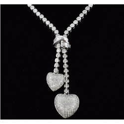 14K White Gold  2.82ct Lariat Style Diamond Neckla