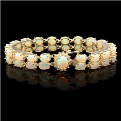 `14k Gold 14.1ct Opal 0.50ct Diamond Bracelet