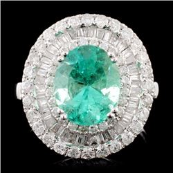 18K Gold 2.50ct Emerald & 1.79ctw Diamond Ring
