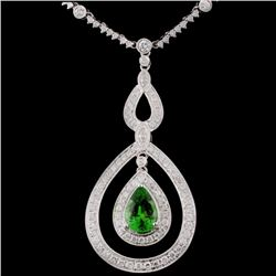 14K White Gold 1.76ct Tsavorite & 1.39ct Diamond N