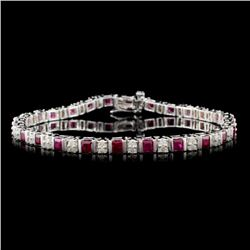 14K White Gold 3.75ct Ruby & 0.85ct Diamond Bracel