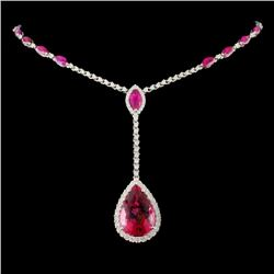 14K Gold 14.57ct Rubellite & 1.56ct Diam Necklace