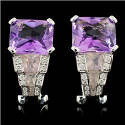 18K White Gold 11.39ct Amethyst & 0.21ct Diamond E