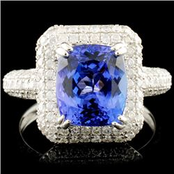 18K Gold 2.95ct Tanzanite & 1.13ctw Diamond Ring