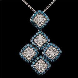 14K White Gold 1.88ctw Fancy Color Diamond Pendant