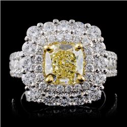 18K White Gold 3.92ctw Fancy Color Diamond Ring