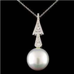 18K Gold 15.00mm Pearl & 0.39ctw Diamond Pendant