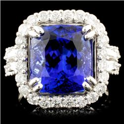 18K Gold 7.21ct Tanzanite & 1.35ctw Diamond Ring