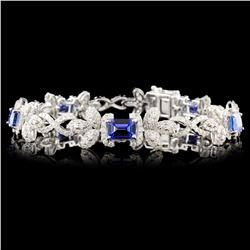 14K Gold 6.28ct Tanzanite & 3.69ctw Diamond Bracel