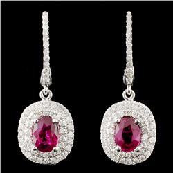 18K Gold 1.27ctw Ruby & 0.50ctw Diamond Earrings