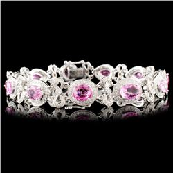 18K Gold 8.09ctw Spinel & 1.40ctw Diamond Bracelet