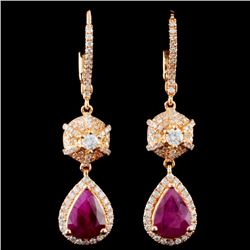 18K Gold 2.68ctw Ruby & 0.83ctw Diamond Earrings