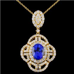 18K Gold 2.48ct Tanzanite & 1.82ctw Diamond Pendan