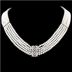 18K Gold 2MM Pearl & 0.50ctw Diamond Necklace