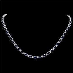 `14k Gold 26.50ct Sapphire 1ct Diamond Necklace