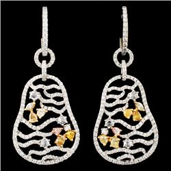 18K Gold 3.01ctw Diamond Earrings