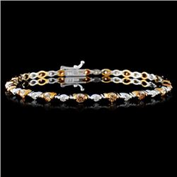 14K White Gold 2.12ctw Fancy Color Diamond Bracele