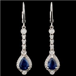 18K Gold 2.38ct Sapphire & 0.74ct Diamond Earrings