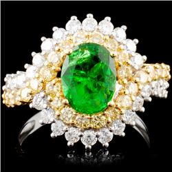18K Gold 1.72ct Tsavorite & 1.36ctw Color Diamond